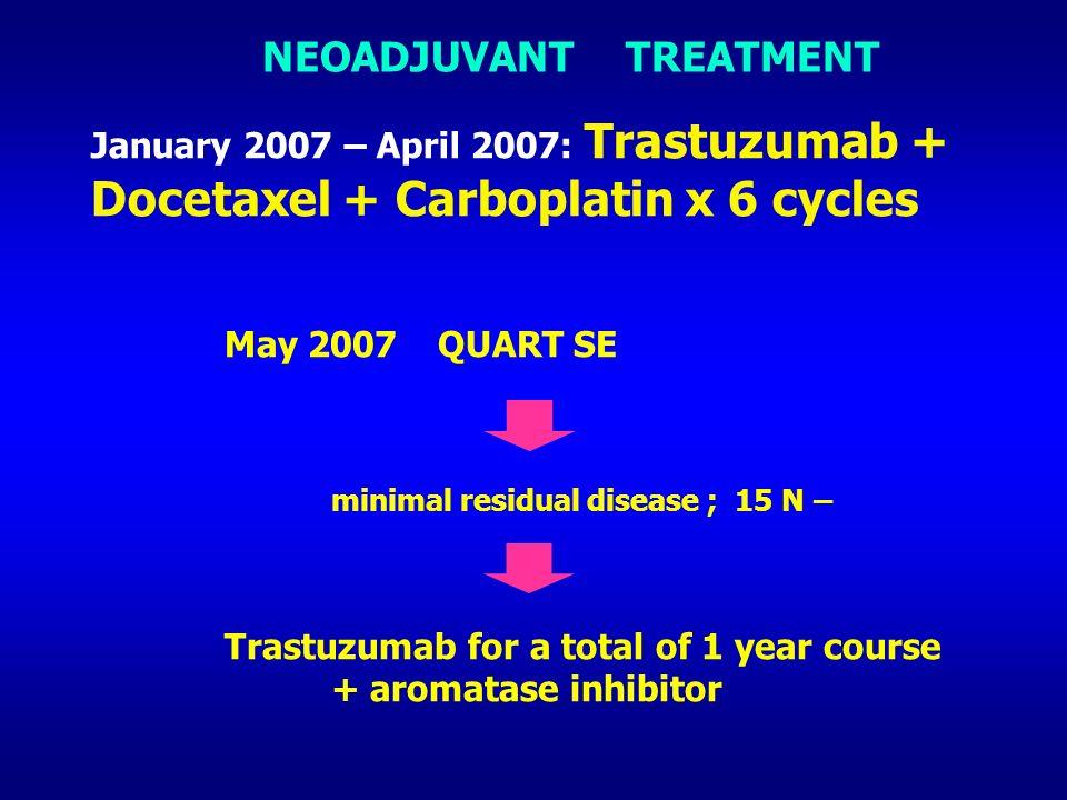 NEOADJUVANT TREATMENT January 2007 – April 2007: Trastuzumab + Docetaxel + Carboplatin x 6 cycles May 2007QUART SE minimal residual disease ; 15 N – T
