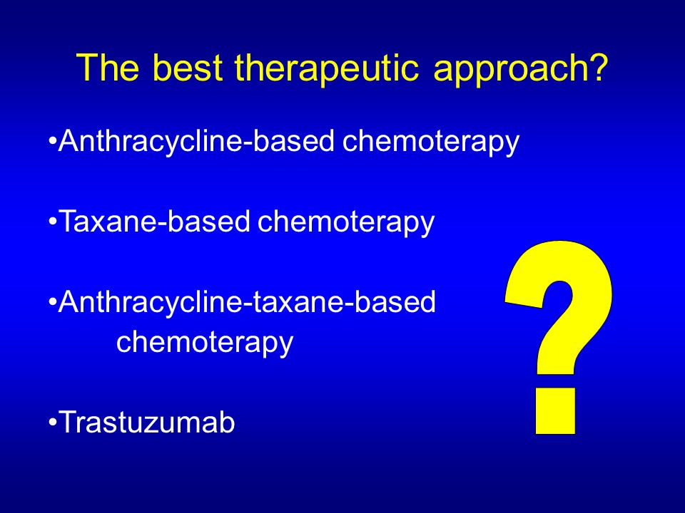 Randomized trials comparing different neoadjuvant chemotherapy regimen Sachelarie et al, The Oncologist 2006;11:574-589 The sequential use of an anthracycline with a taxane is associated with better results than their concurrent use.