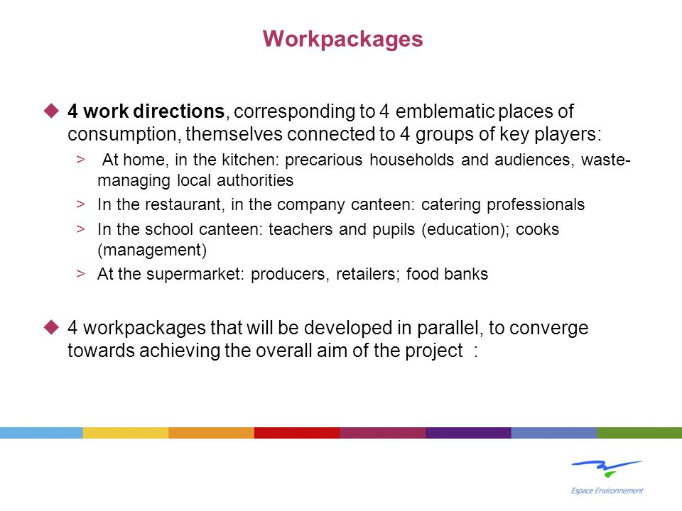 4 work directions, corresponding to 4 emblematic places of consumption, themselves connected to 4 groups of key players: > At home, in the kitchen: pr
