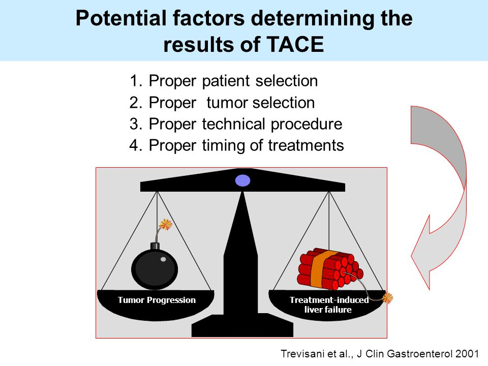 1.Proper patient selection 2.Proper tumor selection 3.Proper technical procedure 4.Proper timing of treatments Tumor ProgressionTreatment-induced liver failure Potential factors determining the results of TACE Trevisani et al., J Clin Gastroenterol 2001