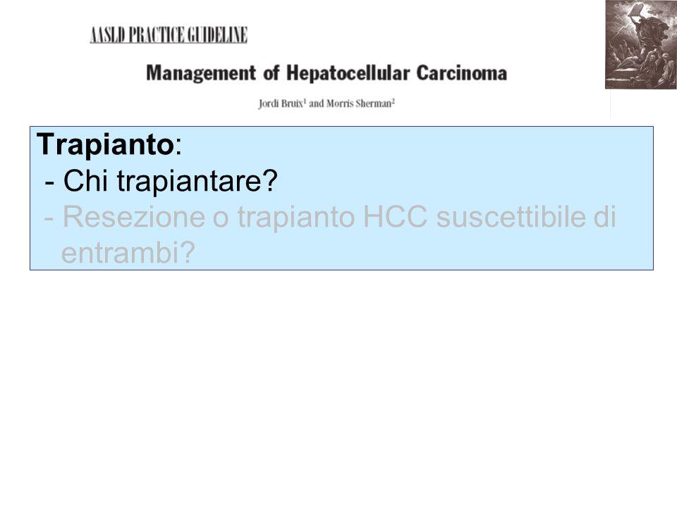Trapianto: - Chi trapiantare? - Resezione o trapianto HCC suscettibile di entrambi?
