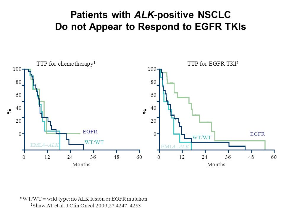 1 Shaw AT et al. J Clin Oncol 2009;27:4247–4253 Platinum-based chemotherapyEGFR TKI Patients with ALK-positive NSCLC Do not Appear to Respond to EGFR
