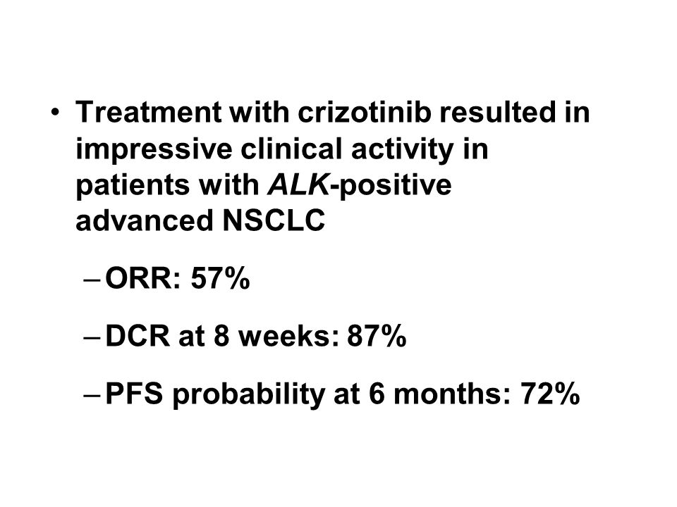 Treatment with crizotinib resulted in impressive clinical activity in patients with ALK-positive advanced NSCLC –ORR: 57% –DCR at 8 weeks: 87% –PFS pr