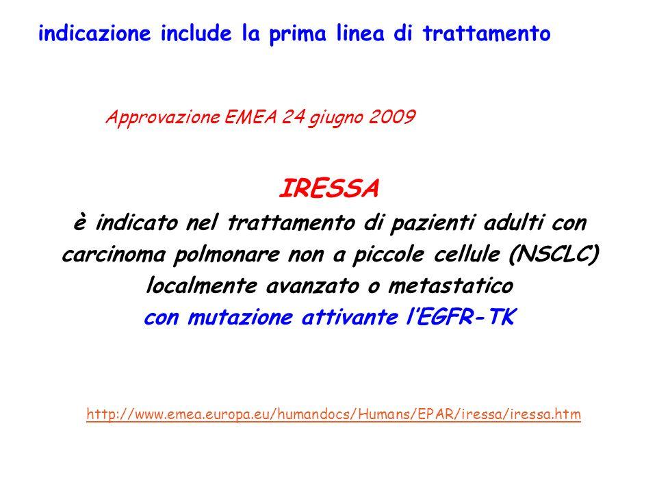 indicazione include la prima linea di trattamento IRESSA è indicato nel trattamento di pazienti adulti con carcinoma polmonare non a piccole cellule (