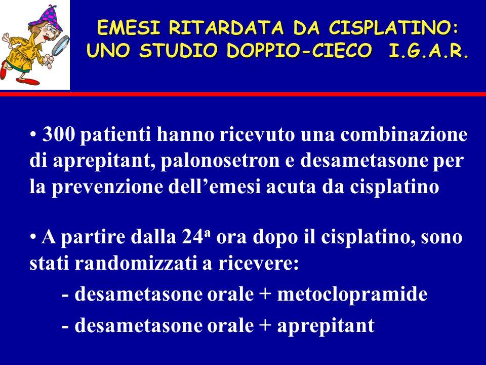 EMESI RITARDATA DA CISPLATINO: UNO STUDIO DOPPIO-CIECO I.G.A.R. 300 patienti hanno ricevuto una combinazione di aprepitant, palonosetron e desametason