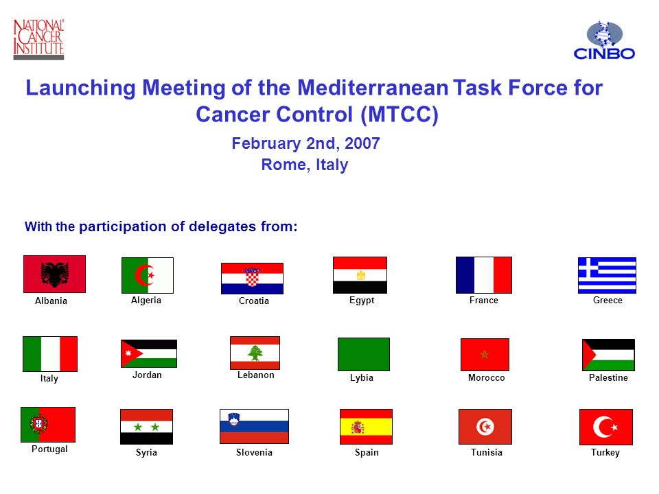 Algeria Croatia EgyptFranceGreece Italy JordanLebanon LybiaMorocco Portugal SyriaSloveniaSpainTunisiaTurkey Palestine Launching Meeting of the Mediterranean Task Force for Cancer Control (MTCC) February 2nd, 2007 Rome, Italy With the participation of delegates from: Albania