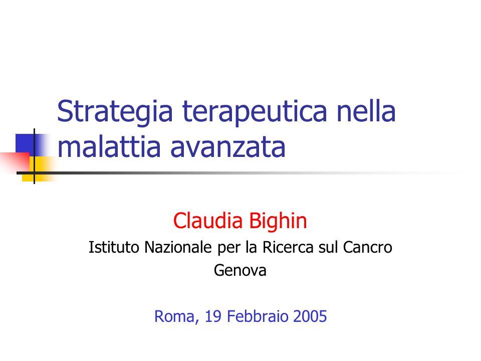 Strategia terapeutica nella malattia avanzata Claudia Bighin Istituto Nazionale per la Ricerca sul Cancro Genova Roma, 19 Febbraio 2005