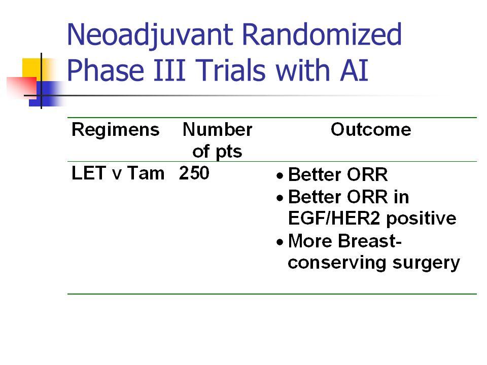 Neoadjuvant Randomized Phase III Trials with AI