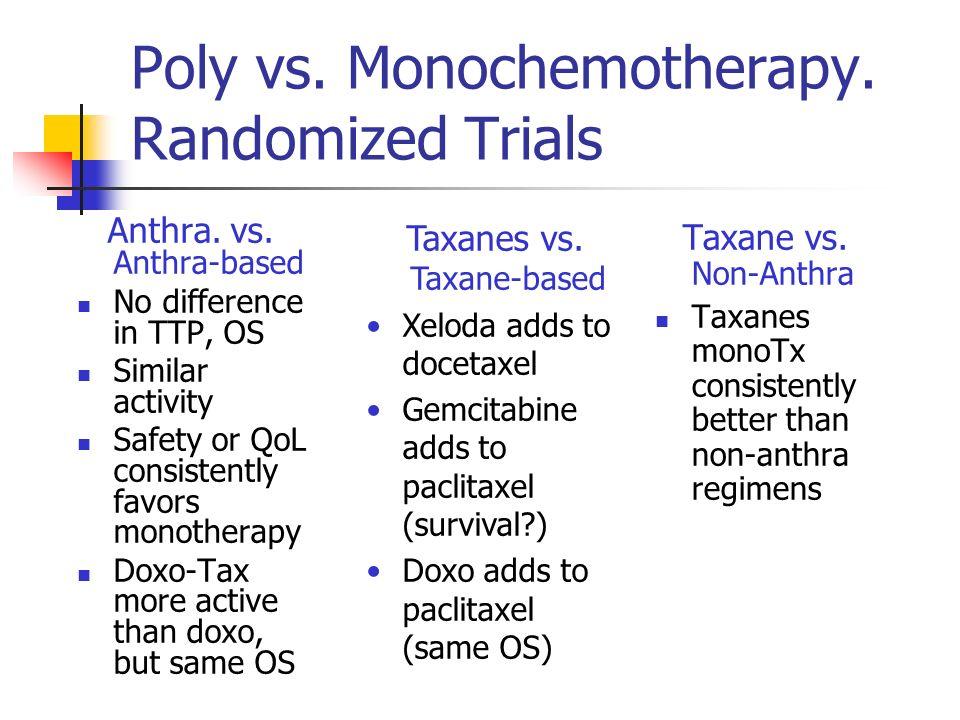 Poly vs. Monochemotherapy. Randomized Trials Anthra.