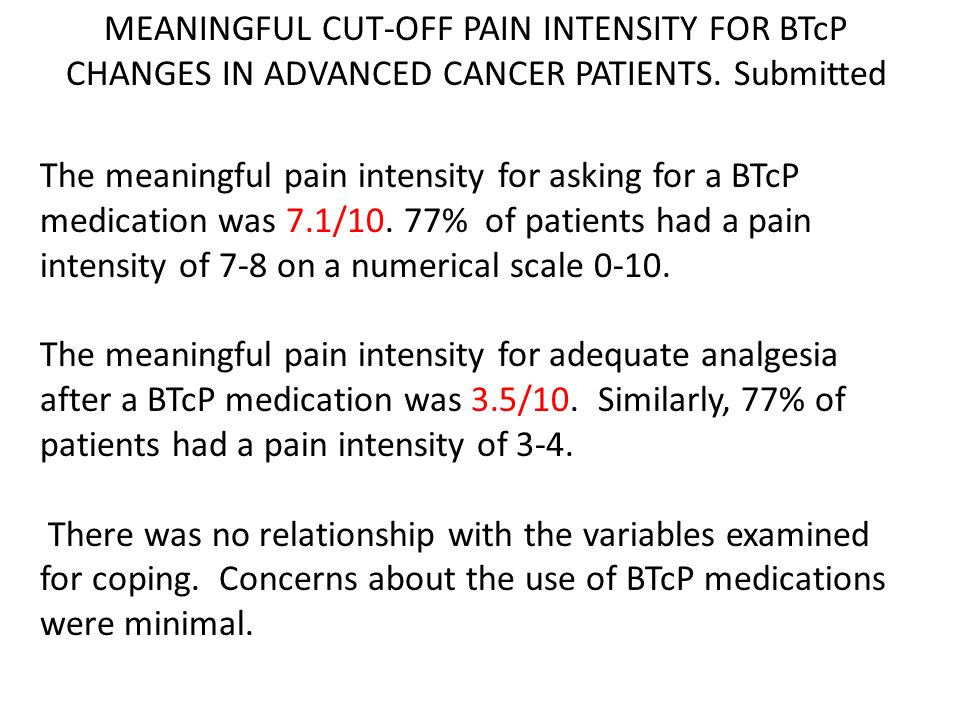 MEANINGFUL CUT-OFF PAIN INTENSITY FOR BTcP CHANGES IN ADVANCED CANCER PATIENTS. Submitted The meaningful pain intensity for asking for a BTcP medicati
