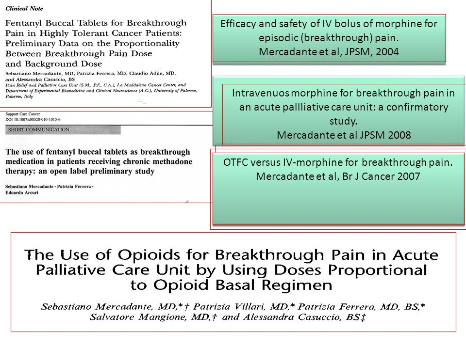 Efficacy and safety of IV bolus of morphine for episodic (breakthrough) pain. Mercadante et al, JPSM, 2004 Intravenuos morphine for breakthrough pain