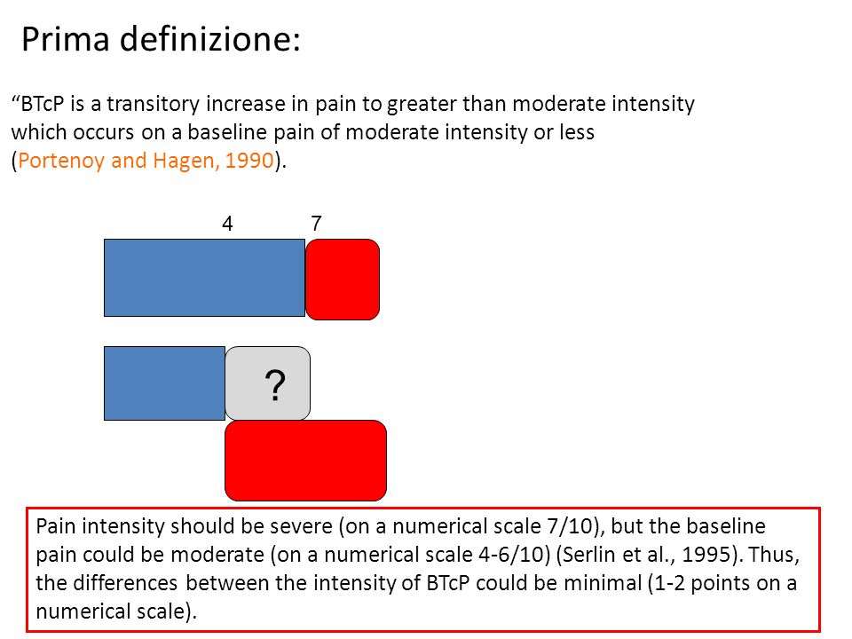 Prima definizione: BTcP is a transitory increase in pain to greater than moderate intensity which occurs on a baseline pain of moderate intensity or l
