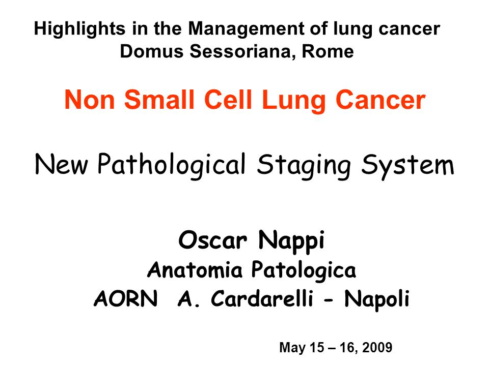Non Small Cell Lung Cancer New Pathological Staging System Oscar Nappi Anatomia Patologica AORN A. Cardarelli - Napoli Highlights in the Management of