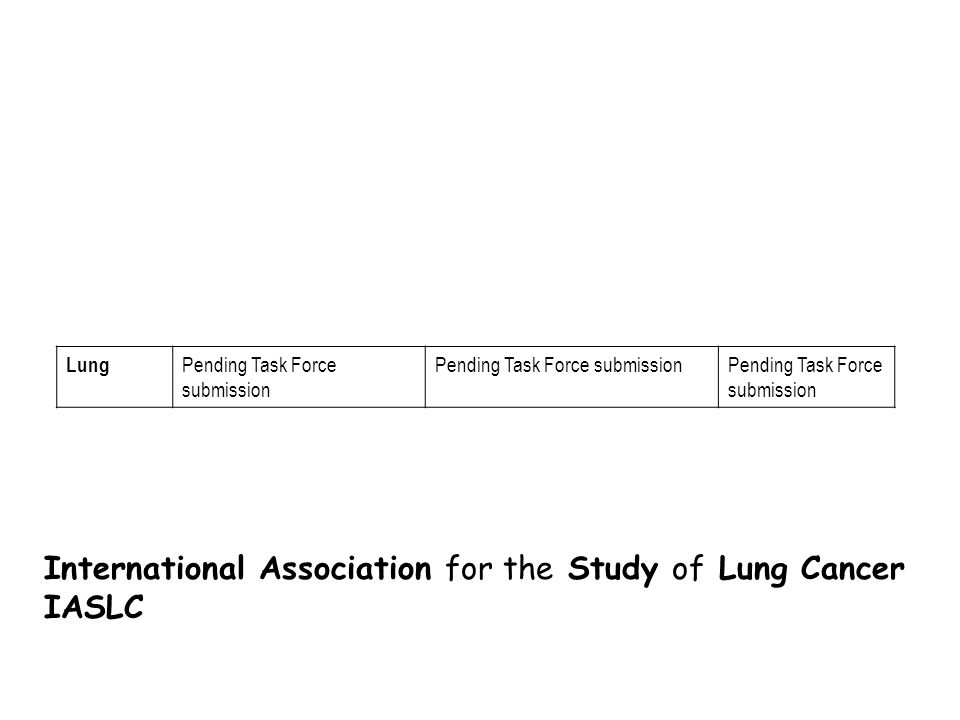 Lung Pending Task Force submission International Association for the Study of Lung Cancer IASLC
