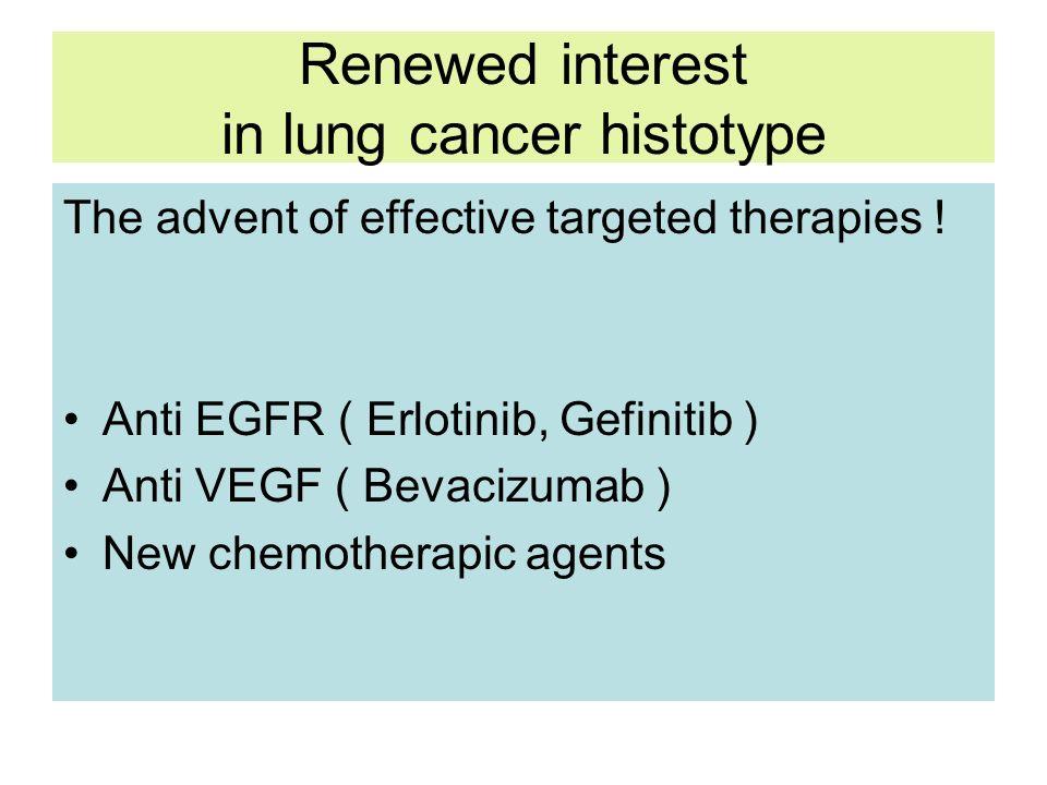 Renewed interest in lung cancer histotype The advent of effective targeted therapies ! Anti EGFR ( Erlotinib, Gefinitib ) Anti VEGF ( Bevacizumab ) Ne
