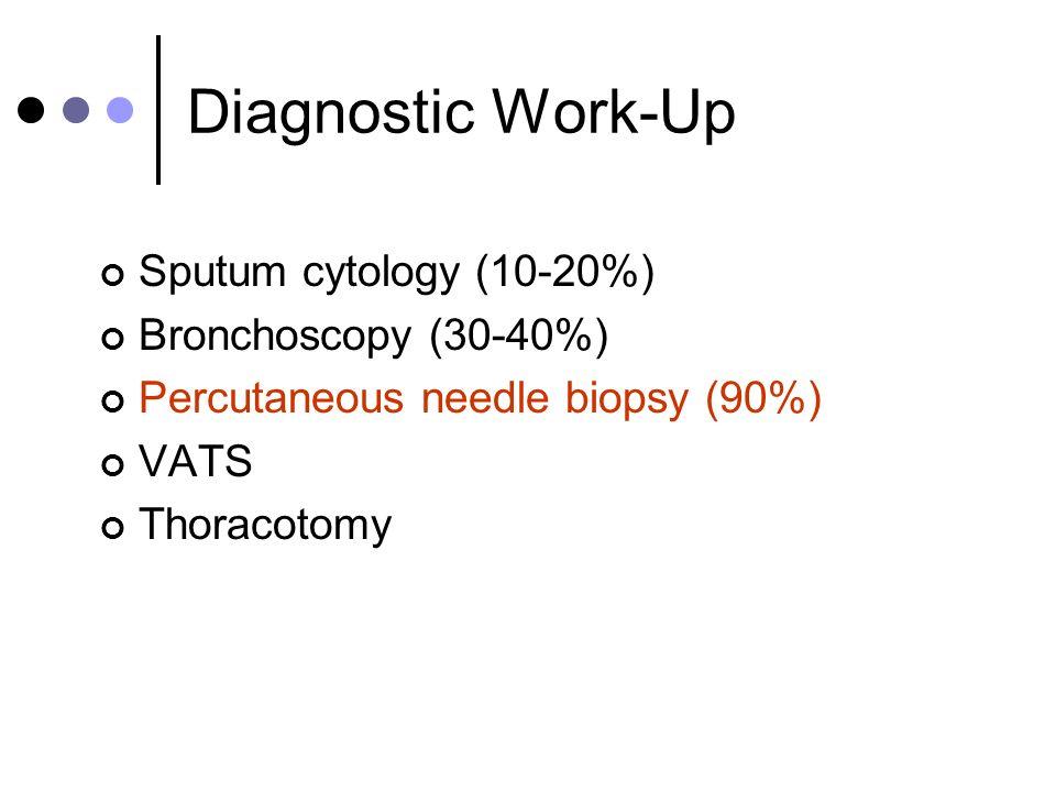Diagnostic Work-Up Sputum cytology (10-20%) Bronchoscopy (30-40%) Percutaneous needle biopsy (90%) VATS Thoracotomy