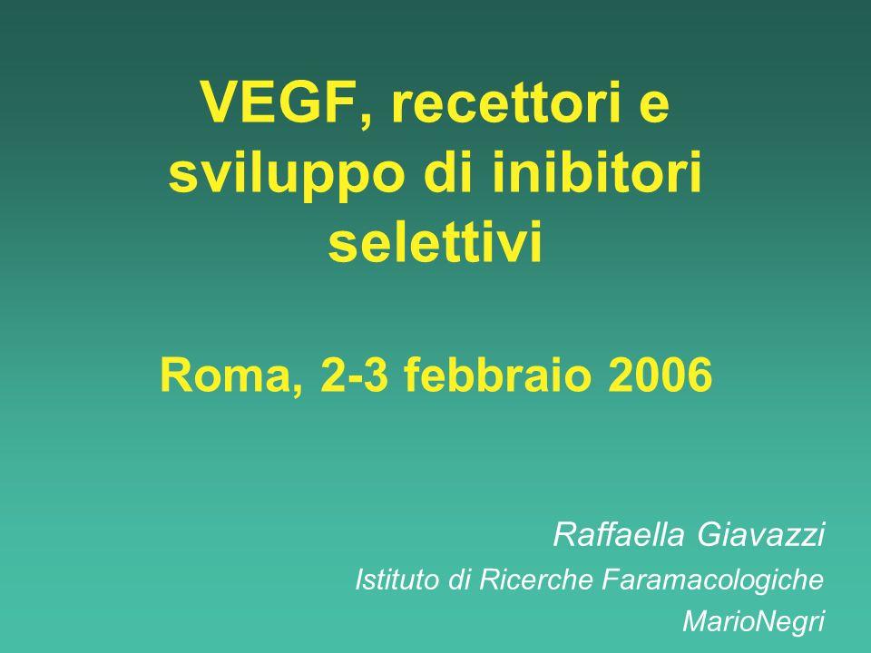 VEGF, recettori e sviluppo di inibitori selettivi Roma, 2-3 febbraio 2006 Raffaella Giavazzi Istituto di Ricerche Faramacologiche MarioNegri