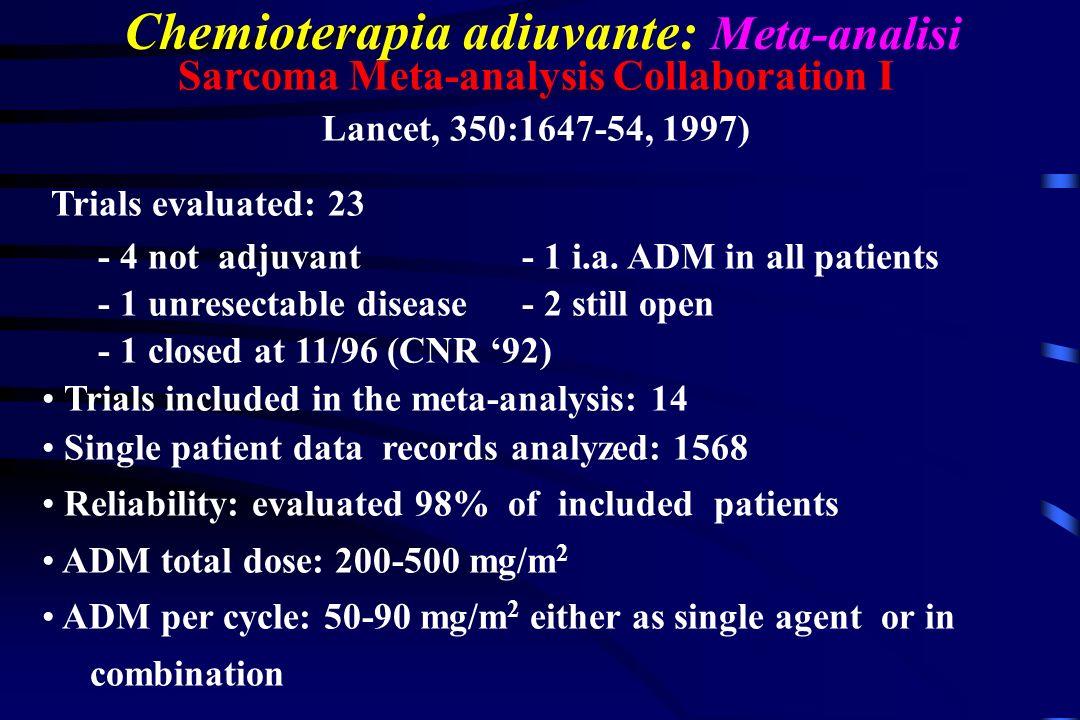 Chemioterapia adiuvante: Meta-analisi Sarcoma Meta-analysis Collaboration I Lancet, 350:1647-54, 1997) Trials evaluated: 23 - 4 not adjuvant - 1 i.a.