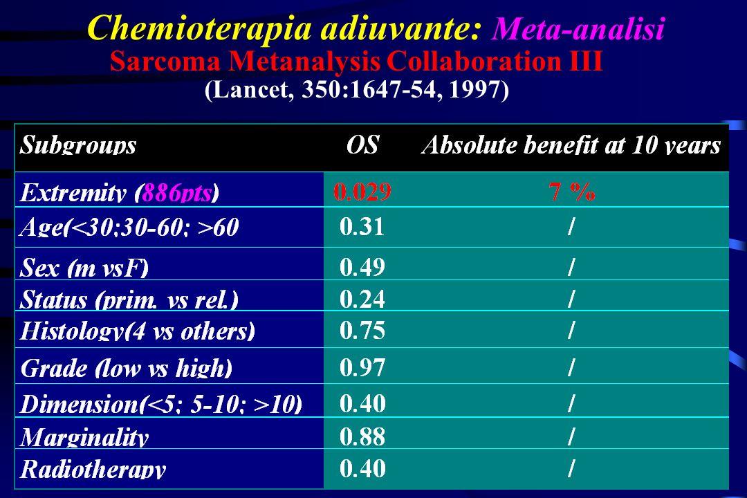 Chemioterapia adiuvante: Meta-analisi Sarcoma Metanalysis Collaboration III (Lancet, 350:1647-54, 1997)