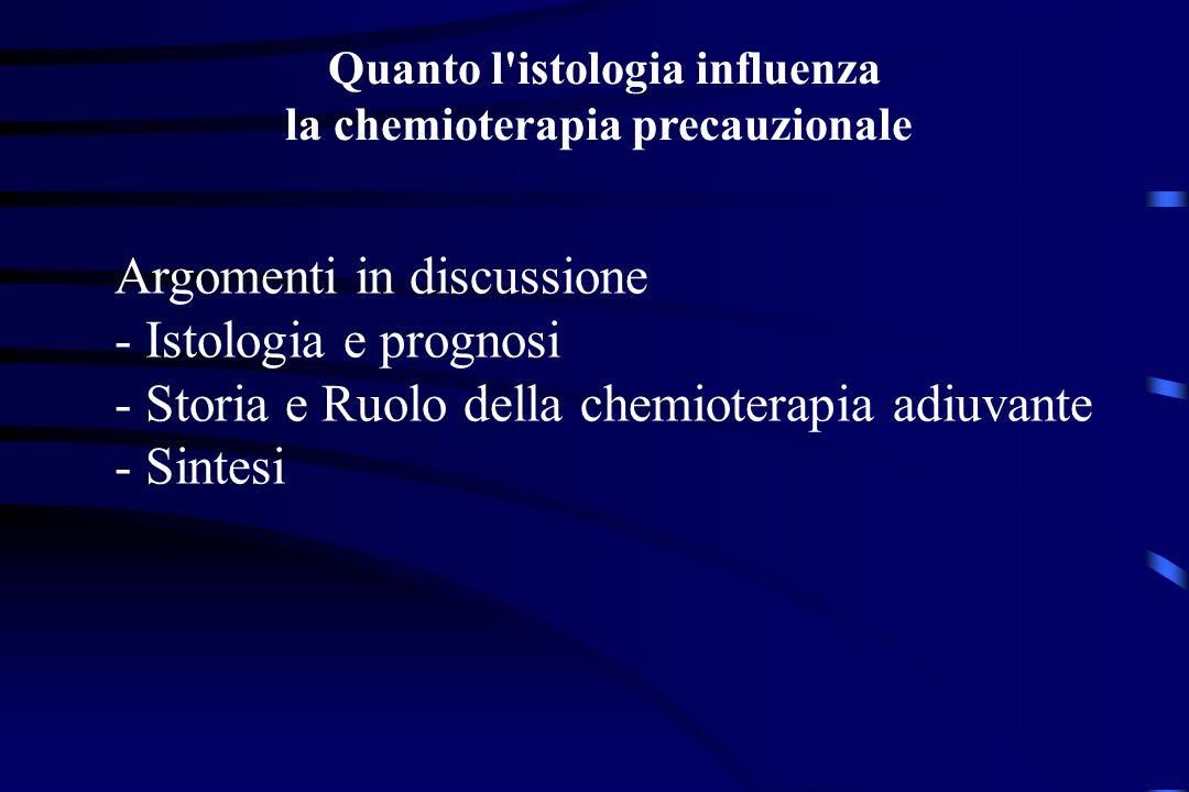 Quanto l istologia influenza la chemioterapia precauzionale Argomenti in discussione - Istologia e prognosi - Storia e Ruolo della chemioterapia adiuvante - Sintesi