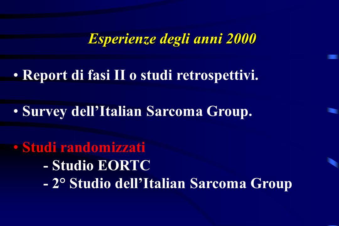Esperienze degli anni 2000 Report di fasi II o studi retrospettivi. Survey dellItalian Sarcoma Group. Studi randomizzati - Studio EORTC - 2° Studio de