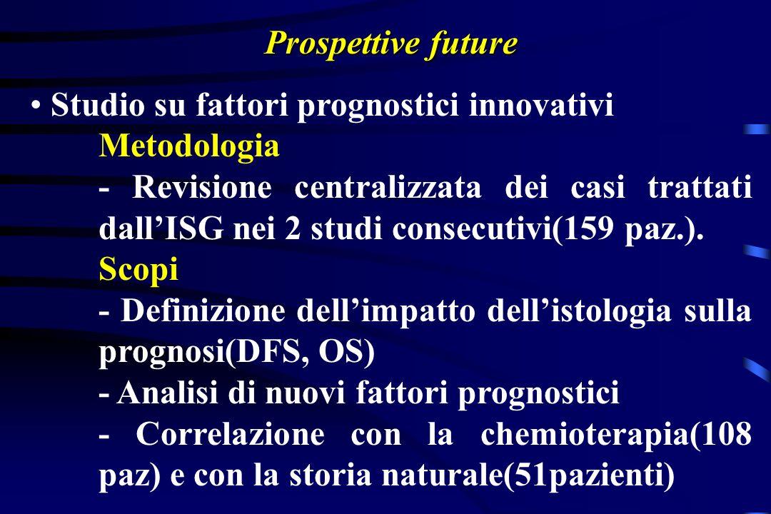 Prospettive future Studio su fattori prognostici innovativi Metodologia - Revisione centralizzata dei casi trattati dallISG nei 2 studi consecutivi(159 paz.).