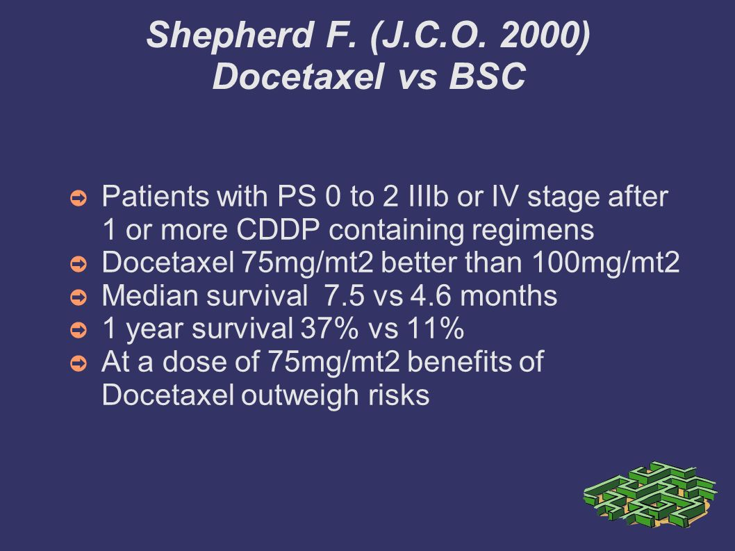 Shepherd F. (J.C.O. 2000) Docetaxel vs BSC Patients with PS 0 to 2 IIIb or IV stage after 1 or more CDDP containing regimens Docetaxel 75mg/mt2 better