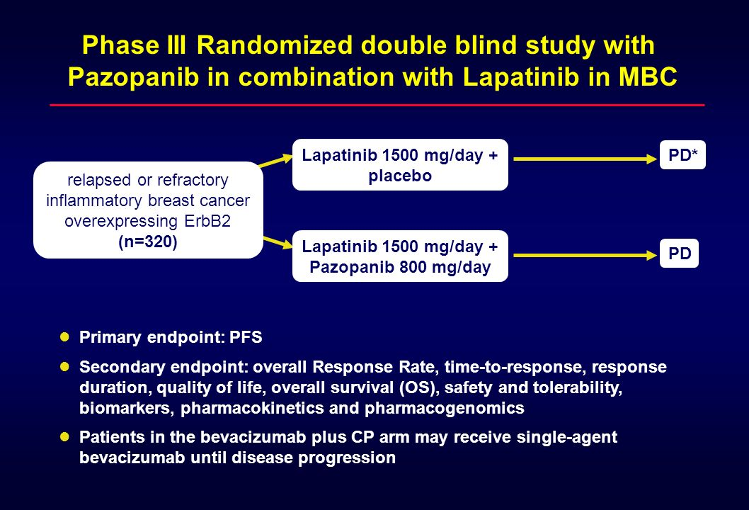 relapsed or refractory inflammatory breast cancer overexpressing ErbB2 (n=320) Lapatinib 1500 mg/day + placebo Primary endpoint: PFS Secondary endpoin