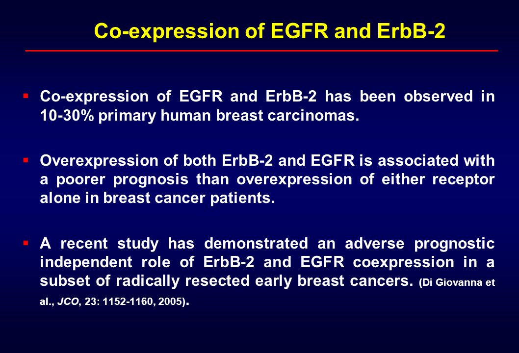 Co-expression of EGFR and ErbB-2 has been observed in 10-30% primary human breast carcinomas. Overexpression of both ErbB-2 and EGFR is associated wit