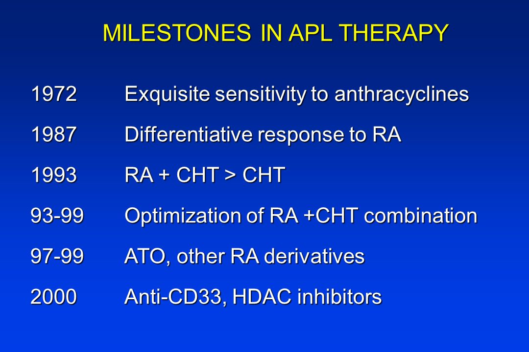 MILESTONES IN APL THERAPY 1972Exquisite sensitivity to anthracyclines 1987Differentiative response to RA 1993RA + CHT > CHT 93-99Optimization of RA +C