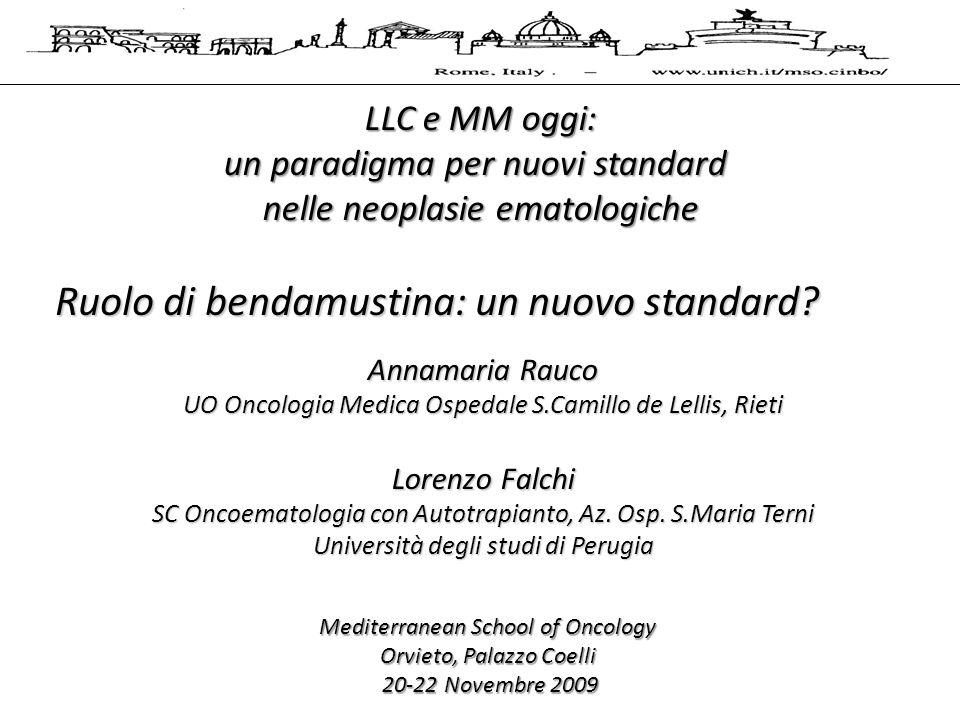 LLC e MM oggi: un paradigma per nuovi standard nelle neoplasie ematologiche Mediterranean School of Oncology Orvieto, Palazzo Coelli 20-22 Novembre 2009 20-22 Novembre 2009 Ruolo di bendamustina: un nuovo standard.