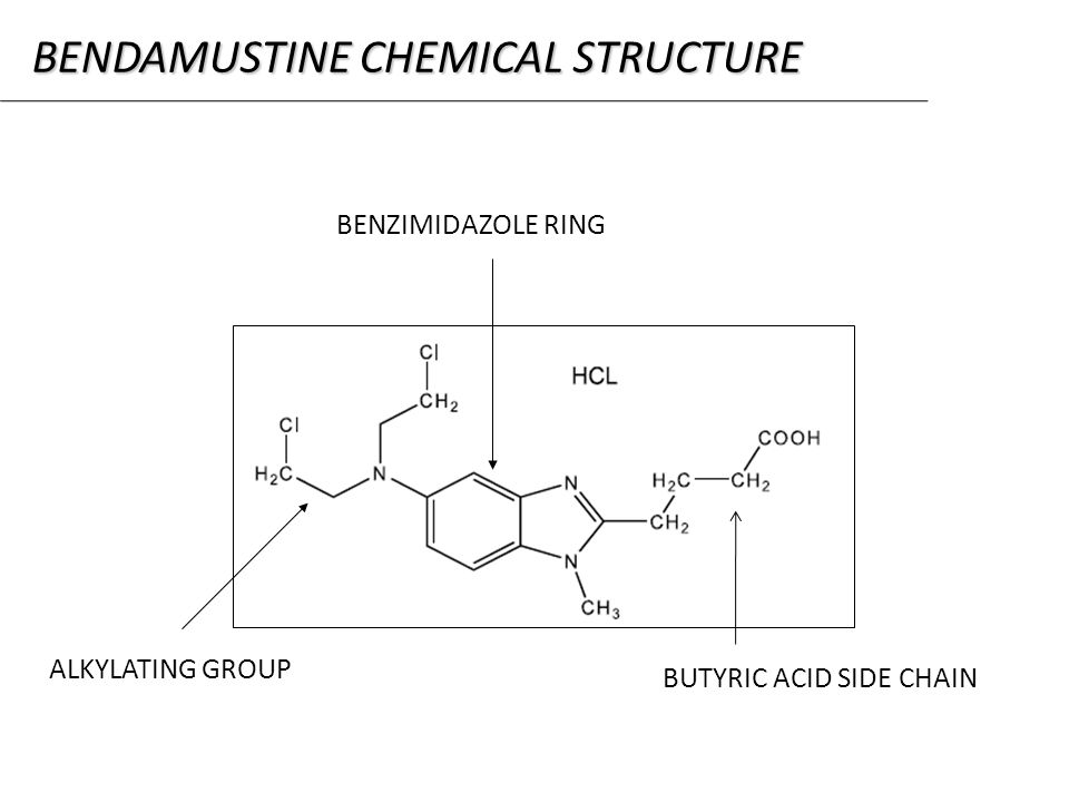 BENZIMIDAZOLE RING ALKYLATING GROUP BUTYRIC ACID SIDE CHAIN BENDAMUSTINE CHEMICAL STRUCTURE