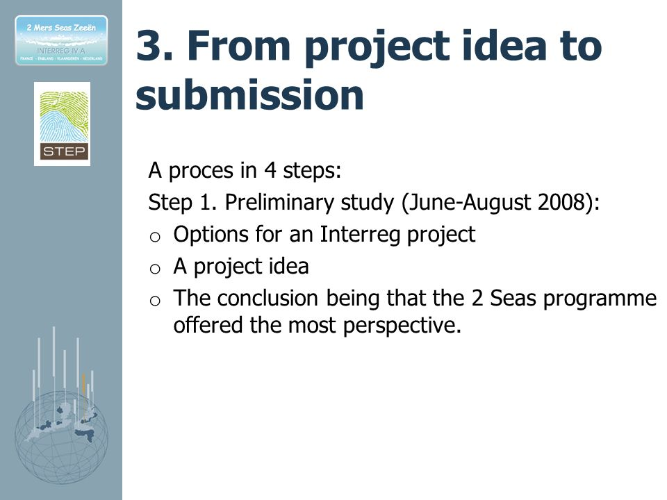 3.From project idea to submission A proces in 4 steps: Step 1.