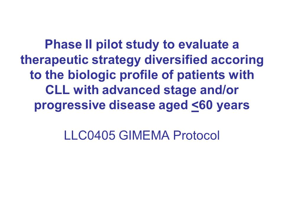 Phase II pilot study to evaluate a therapeutic strategy diversified accoring to the biologic profile of patients with CLL with advanced stage and/or p