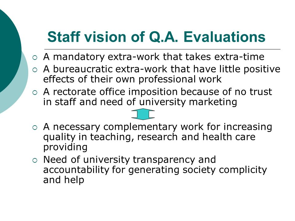 Staff vision of Q.A. Evaluations A mandatory extra-work that takes extra-time A bureaucratic extra-work that have little positive effects of their own