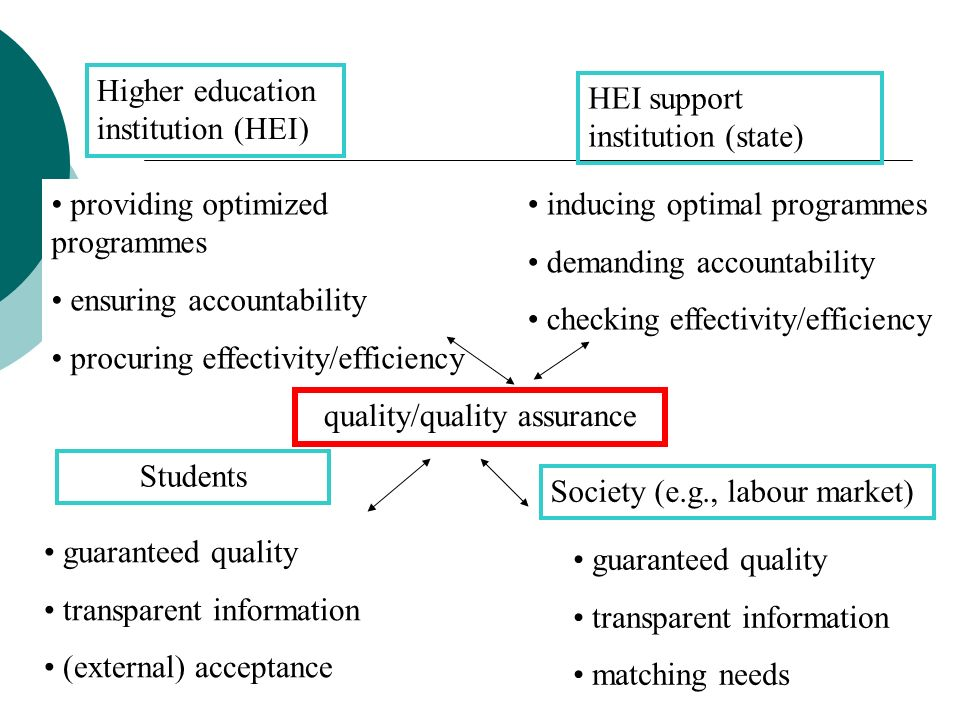 Higher education institution (HEI) HEI support institution (state) providing optimized programmes ensuring accountability procuring effectivity/effici