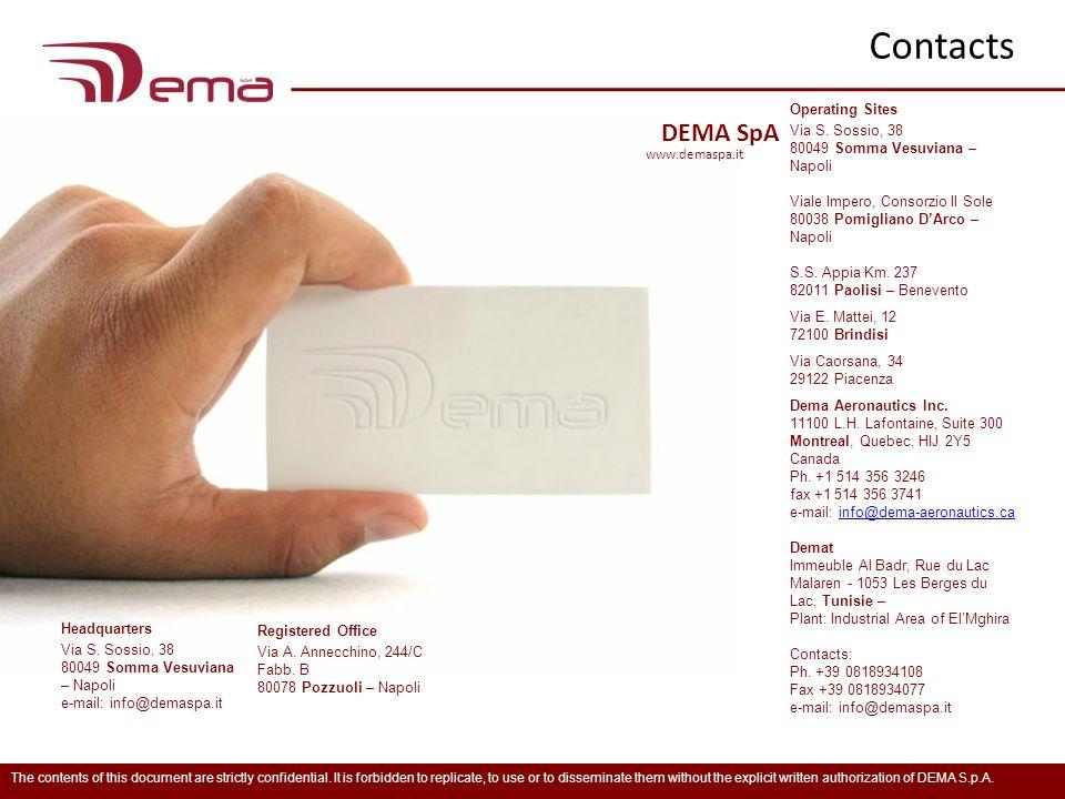 Contacts www.demaspa.it DEMA SpA Operating Sites Via S. Sossio, 38 80049 Somma Vesuviana – Napoli Viale Impero, Consorzio Il Sole 80038 Pomigliano DAr