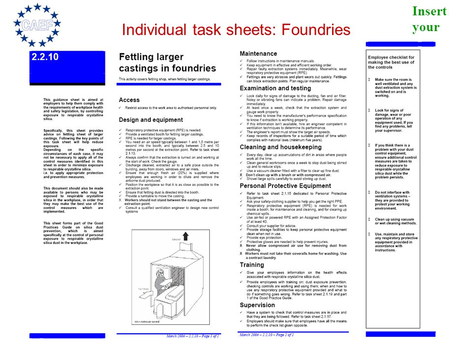 Insert your logo Individual task sheets: Foundries