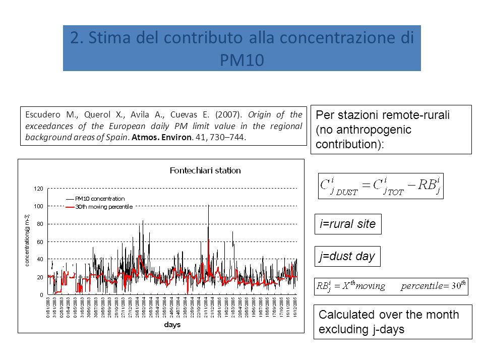 2. Stima del contributo alla concentrazione di PM10 Escudero M., Querol X., Avila A., Cuevas E.