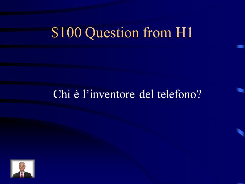 Jeopardy La Storia Il telefono in Italia Il vocabolario I verbi Linguaggio SMS Q $100 Q $200 Q $300 Q $400 Q $500 Q $100 Q $200 Q $300 Q $400 Q $500 Final Jeopardy