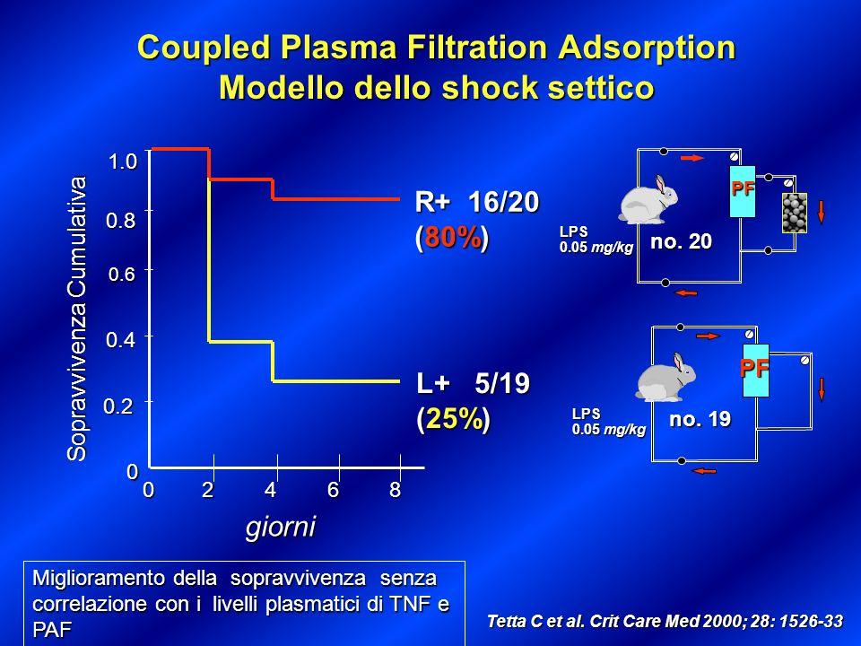 L+ 5/19 (25%) R+ 16/20 (80%) 0.2 0.4 0.6 0.8 1.0 Sopravvivenza Cumulativa 0 02468 giorni Coupled Plasma Filtration Adsorption Modello dello shock sett