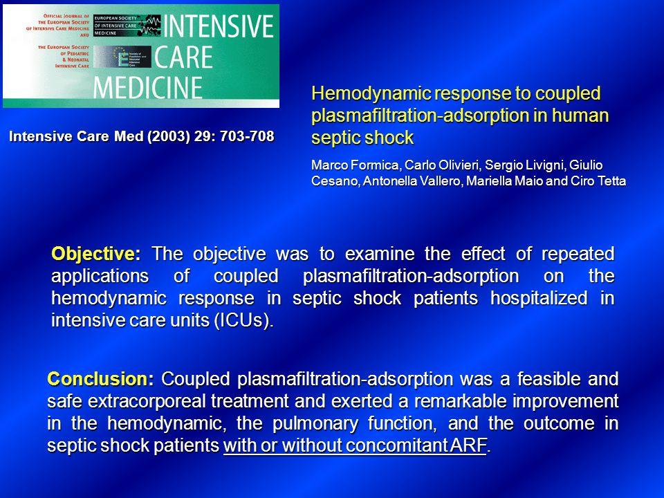 Hemodynamic response to coupled plasmafiltration-adsorption in human septic shock Marco Formica, Carlo Olivieri, Sergio Livigni, Giulio Cesano, Antone