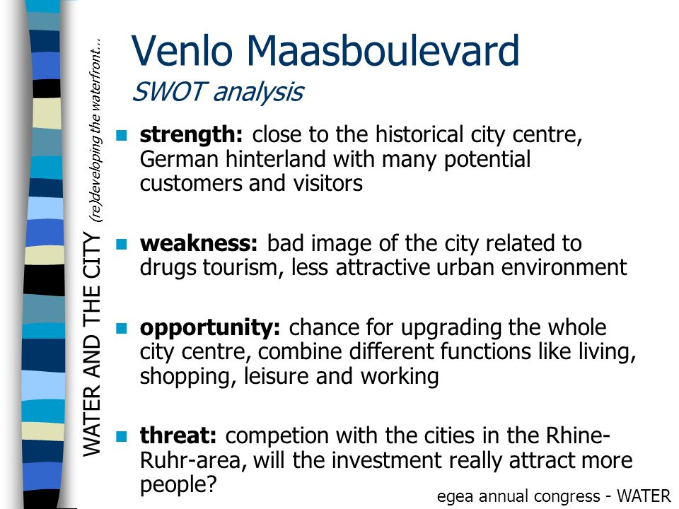 WATER AND THE CITY (re)developing the waterfront... egea annual congress - WATER Venlo Maasboulevard SWOT analysis strength: close to the historical c