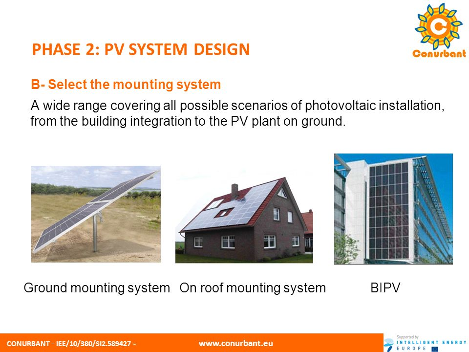 CONURBANT - IEE/10/380/SI2.589427 - www.conurbant.eu PHASE 2: PV SYSTEM DESIGN B- Select the mounting system A wide range covering all possible scenar