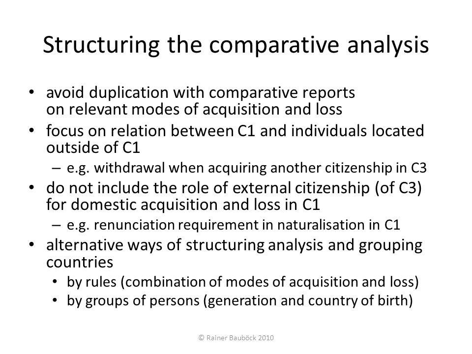 Linking Modes of Acquisition and Loss (table compiled by Maarten Vink) © Rainer Bauböck 2010