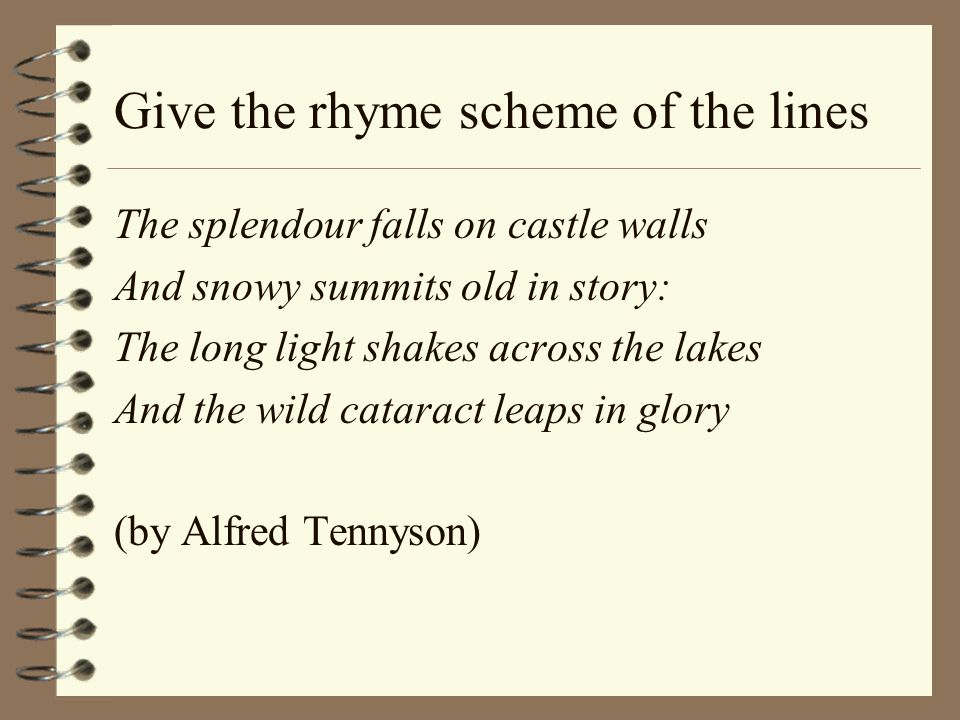 Give the rhyme scheme of the lines The splendour falls on castle walls And snowy summits old in story: The long light shakes across the lakes And the wild cataract leaps in glory (by Alfred Tennyson)
