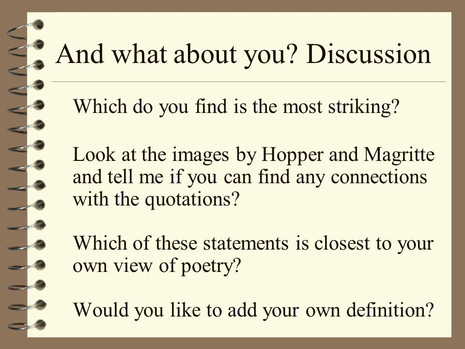 And what about you.Discussion Which do you find is the most striking.