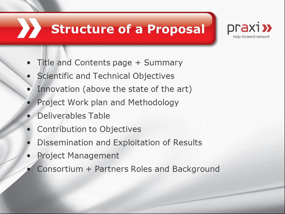 Structure of a Proposal Title and Contents page + Summary Scientific and Technical Objectives Innovation (above the state of the art) Project Work pla