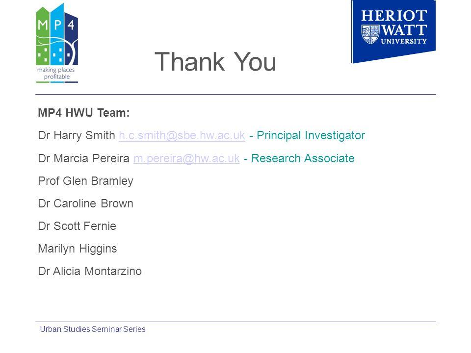 Thank You MP4 HWU Team: Dr Harry Smith h.c.smith@sbe.hw.ac.uk - Principal Investigatorh.c.smith@sbe.hw.ac.uk Dr Marcia Pereira m.pereira@hw.ac.uk - Re