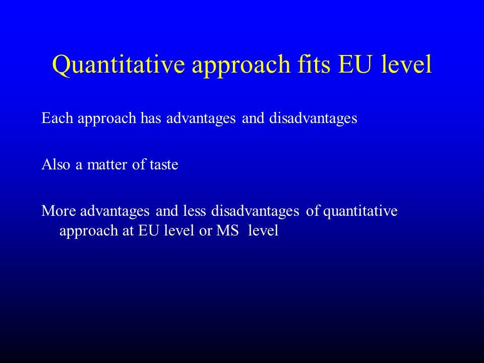 Quantitative approach fits EU level Each approach has advantages and disadvantages Also a matter of taste More advantages and less disadvantages of qu